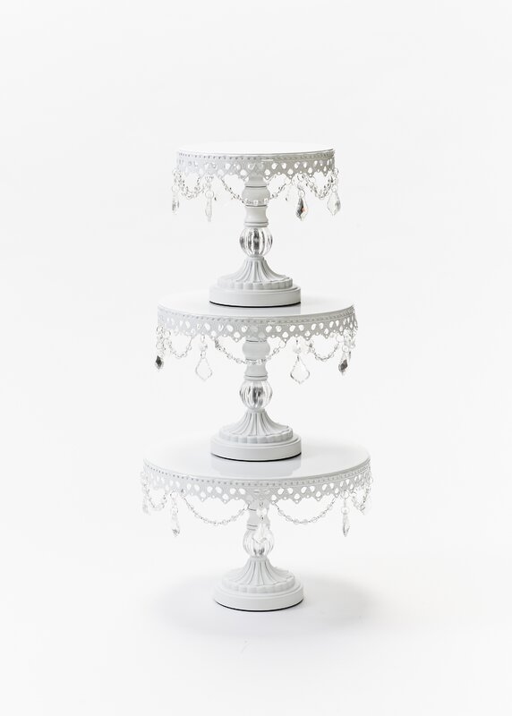 Ball Base Chandelier Plate 3 Piece Cake Stand Set