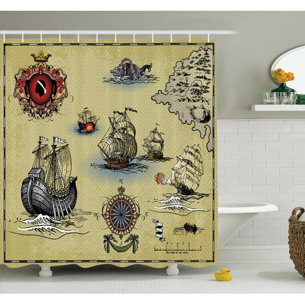 Ambesonne Antique Map Pirate Shower Curtain Set