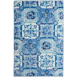 Amblewood Painted Tile Blue/White Area Rug