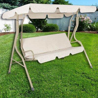Charlton Home Steele Patio Swing Canopy Hammock Glider Bench with Cushions
