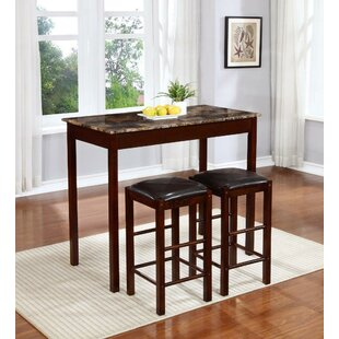 Rockford 3 Piece Faux Marble Counter Height Pub Table Set