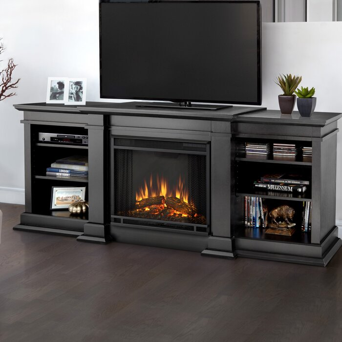 Black Electric Fireplace Media Center
