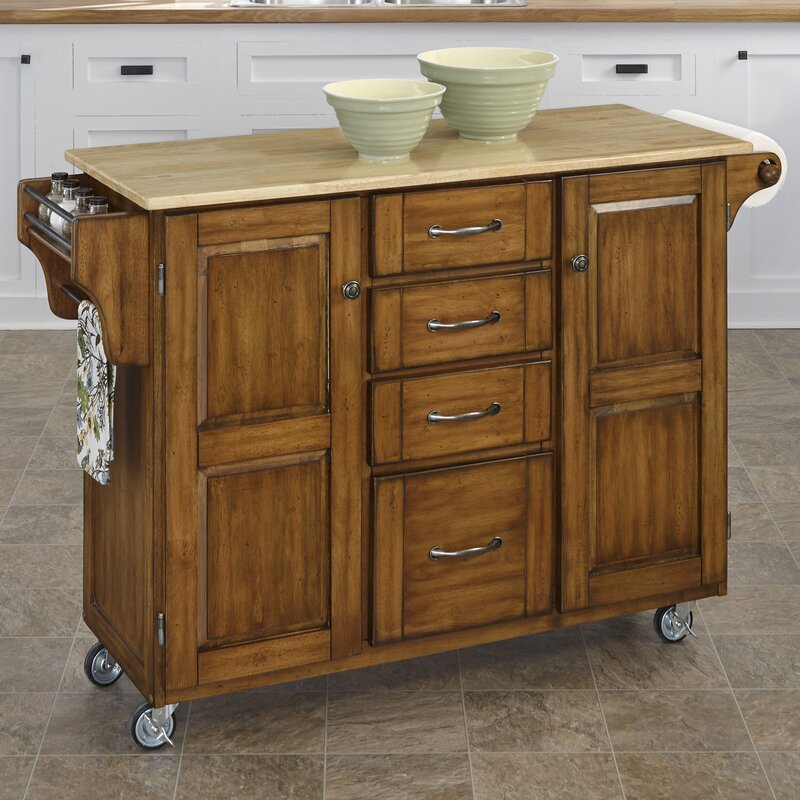 August Grove Adelle-a-Cart Kitchen Island with Butcher Block Top & Reviews  | Wayfair
