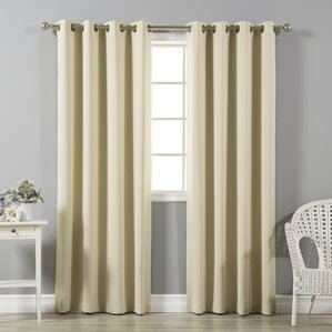 solid blackout thermal grommet curtain panels set of 2