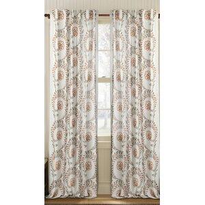 Vintage Damask Semi-Sheer Rod Pocket Single Curtain Panel