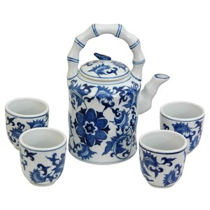 Porcelain Floral 5 Piece Teapot Set
