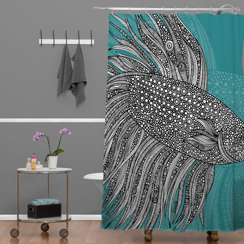 East Urban Home Beta Fish Extra Long Shower Curtain | Wayfair