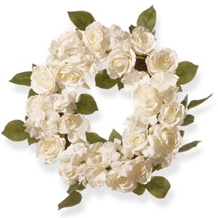 White flower wreath wayfair harvest 16 rose wreath mightylinksfo