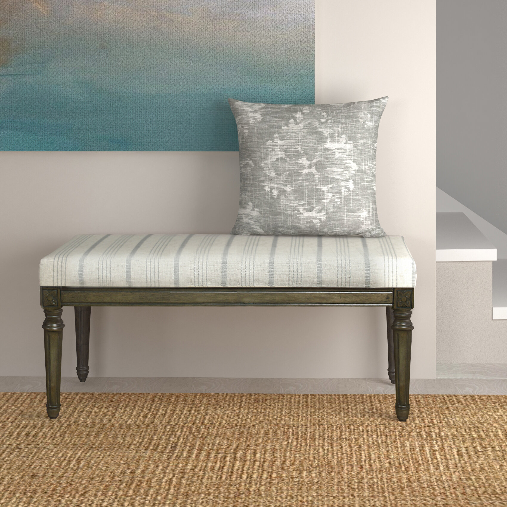 Beachcrest Home Lake Kathryn Stripe Decorative Upholstered Bench With Wood  Legs U0026 Reviews | Wayfair