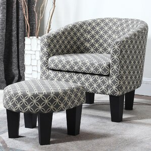 Wharton Barrel Chair and Ottoman by Red Barr..
