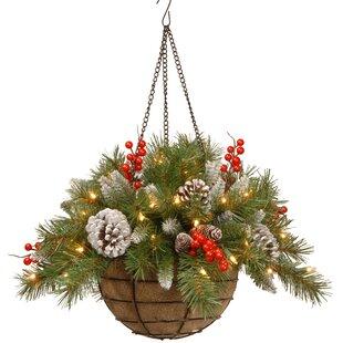 pre lit floral arrangement in basket - Christmas Hanging Baskets