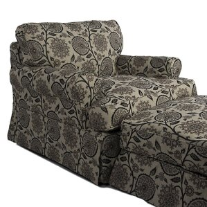 Callie Slipcovered Armchair and Ottoman by August Grove