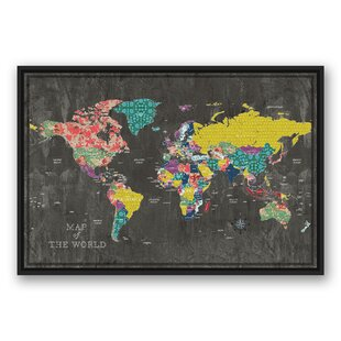 Framed maps wall art youll love wayfair colorful world map graphic art print on canvas gumiabroncs Images