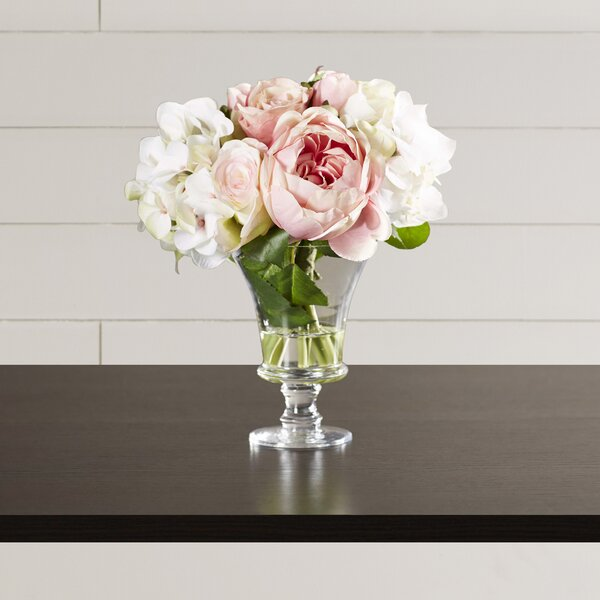 One Allium Way Faux Rose And Hydrangea Bouquet In Pedestal Glass
