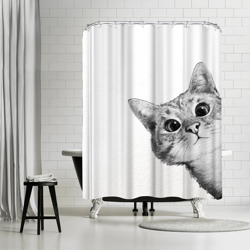 Merveilleux Laura Graves Sneaky Cat Shower Curtain