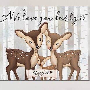 Personalized Baby Nursery Children S Bedroom Woodland Deerly Loved Canvas Art