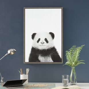 19ba538a7ad  Panda Animal Print Black and White Portrait  Framed Photographic Print on  Wrapped Canvas