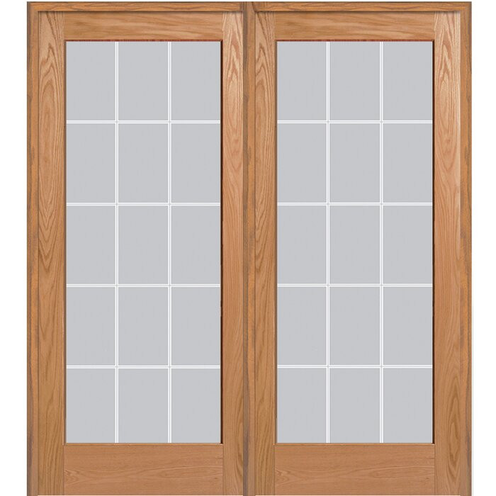 Verona Home Design Wood 2 Panel Red Oak Interior French Door
