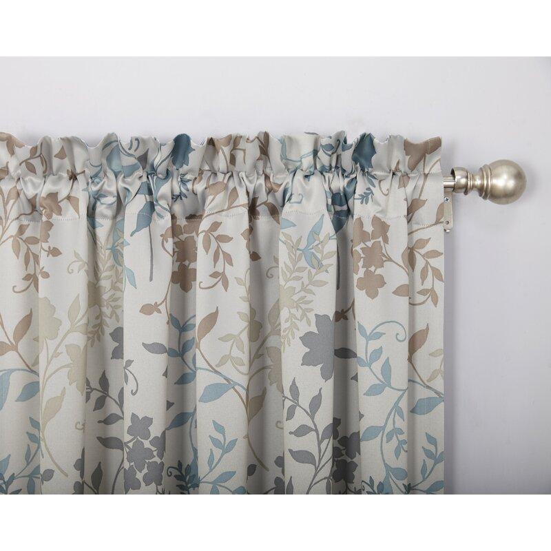 Auburn Nature Floral Room Darkening Rod Pocket Single Curtain Panel