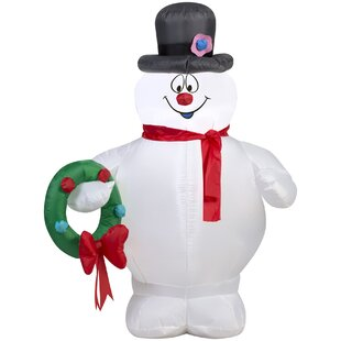 airblown frosty holding wreath small frosty inflatable by the holiday aisle