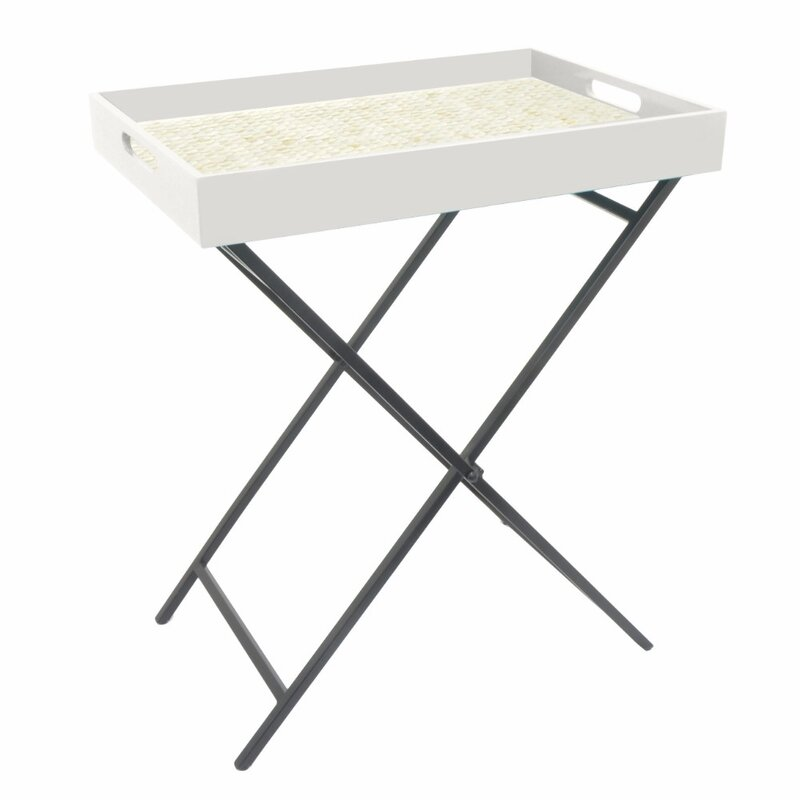 Ellyn Attractive Wood Metal Serving Tray Table