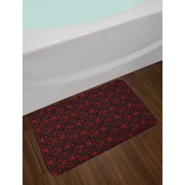 East Urban Home Victorian Red And Black Bath Rug Wayfair