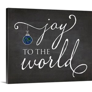 Christmas Art 'Joy to the World Chalkboard' by Amy Cummings Textual Art on Wrapped Canvas