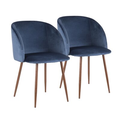 Brayden Studio Chu Upholstered Dining Chair Color: Blue/Walnut