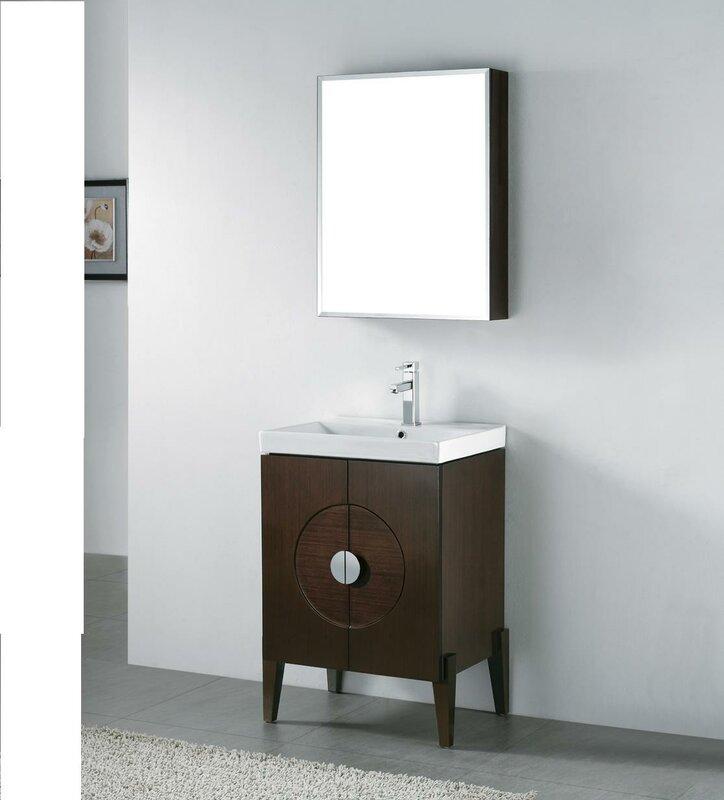 "genova 24"" wall mount bathroom vanity base & reviews | allmodern"