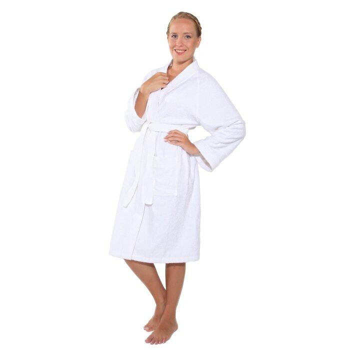 d8b764db92 Winston Porter Rabun Women s Short Kimono 100% Cotton Terry Cloth Bathrobe