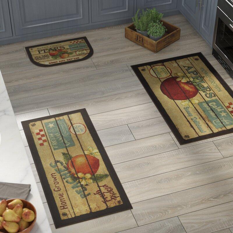 August Grove Corrine 3 Piece Fruit Crate Kitchen Mat Set