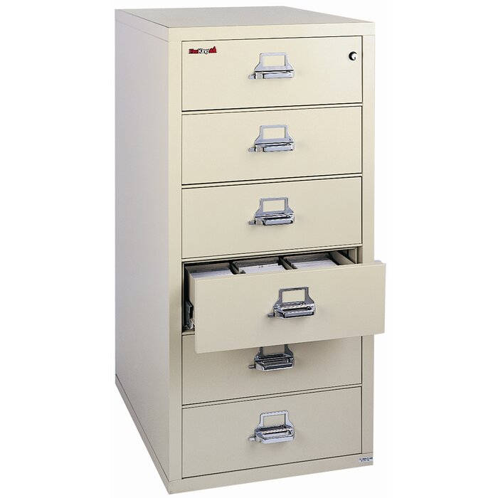 Fireproof 6 Drawer Card, Check, And Note Vertical File Cabinet