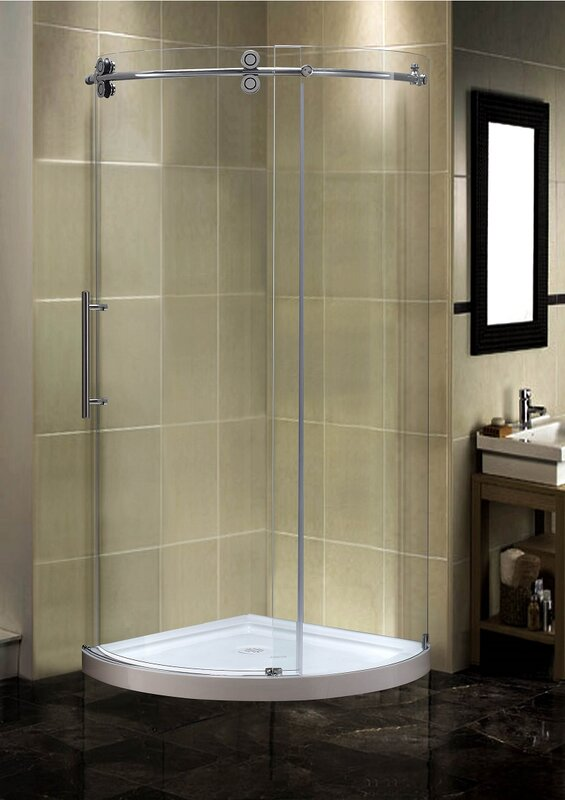 Orbitus 36 X 75 Completely Frameless Round Shower Enclosure With Base