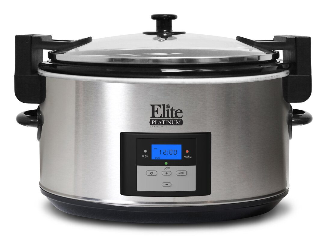 elite by maxi matic 8 5 qt platinum stainless steel slow cooker