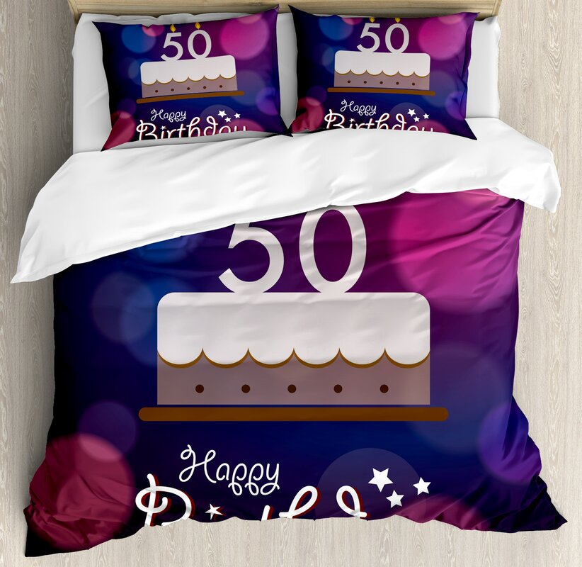 50th Birthday Decorations Spots Graphic Cake Number Candlesticks Cute Lettering Duvet Set