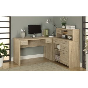 Milford L-Shaped Computer Desk with Hutch
