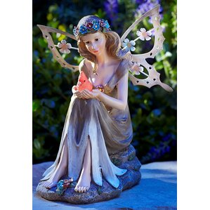 Solar Powered Garden Fairy With Glowing Cardinal Statue
