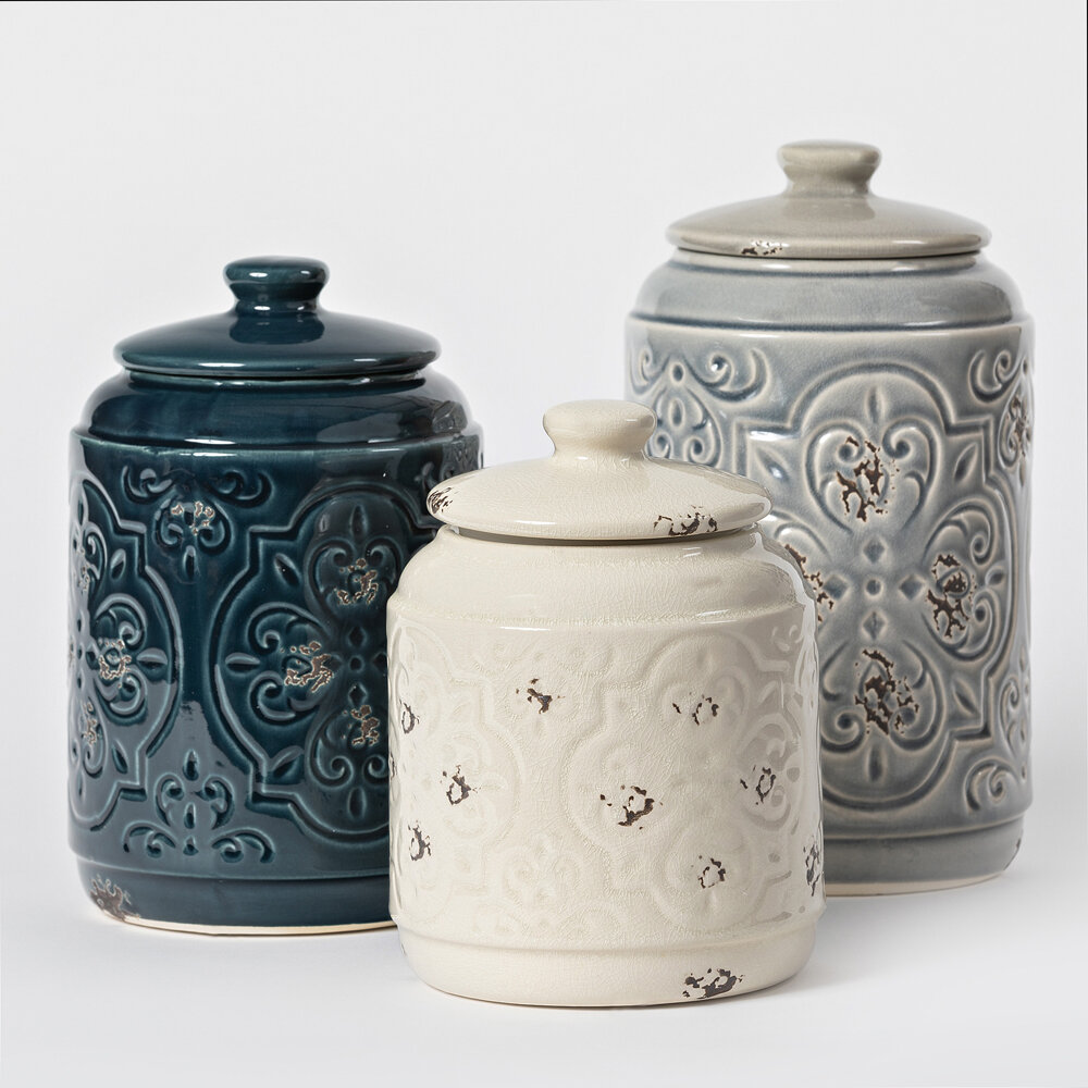 Drewderosedesigns Rustic Quilted 3 Piece Kitchen Canister Set Reviews Wayfair