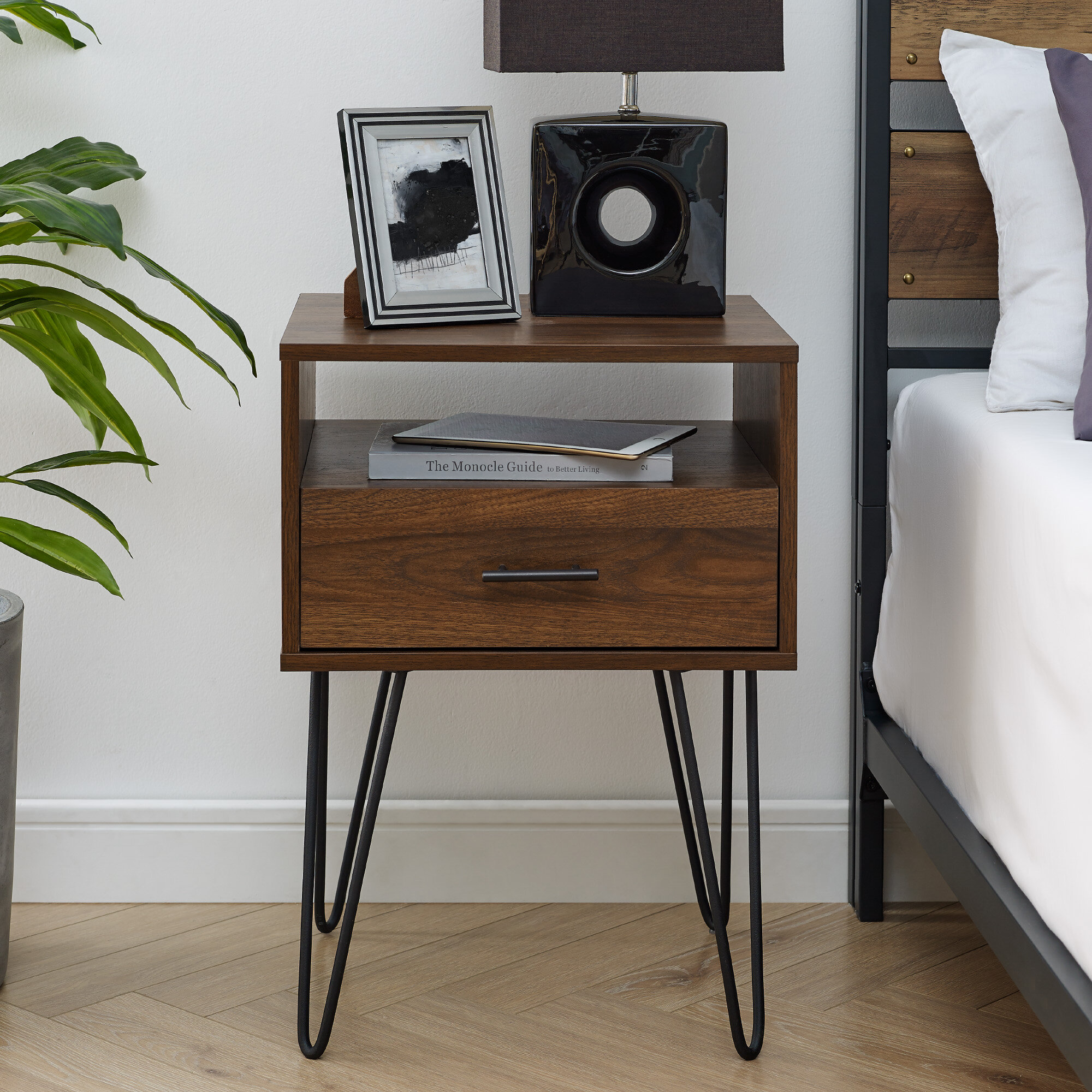 hot sale online f8760 cde1e Kamille Single Hairpin Leg 1 Drawer Nightstand