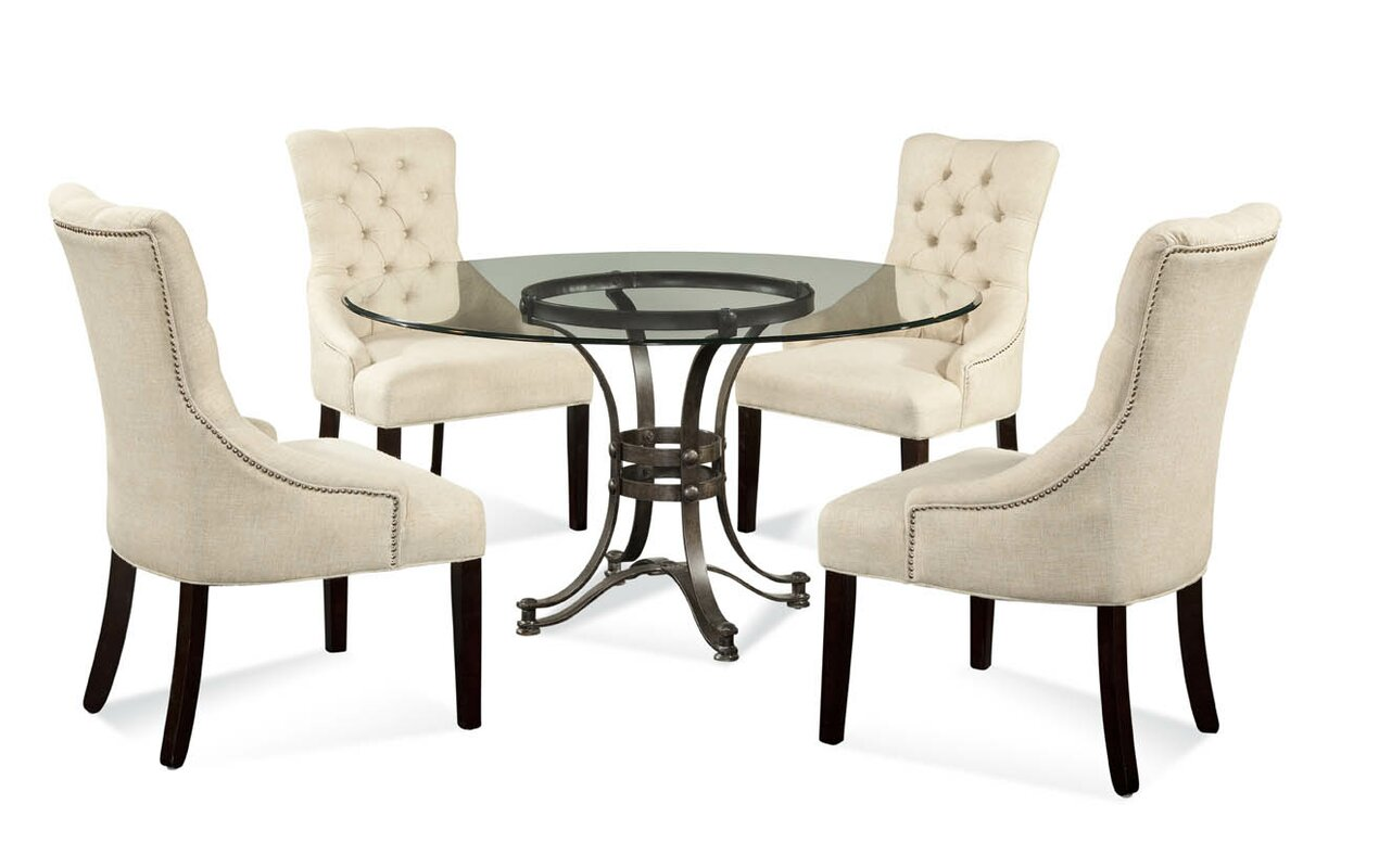 Willa Arlo Interiors Lamb 5 Piece Glass Table Top Dining Set ...