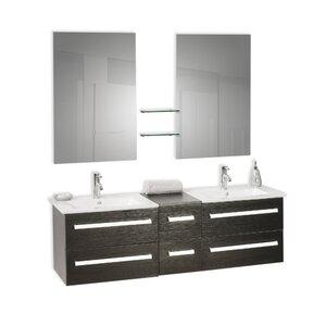 Caracella 150 cm Wandmontierter Waschtisch für Doppelbecken Madrid mit Spiegel und Armatur