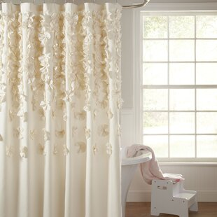 Ivory Cream Ruffled Shower Curtains