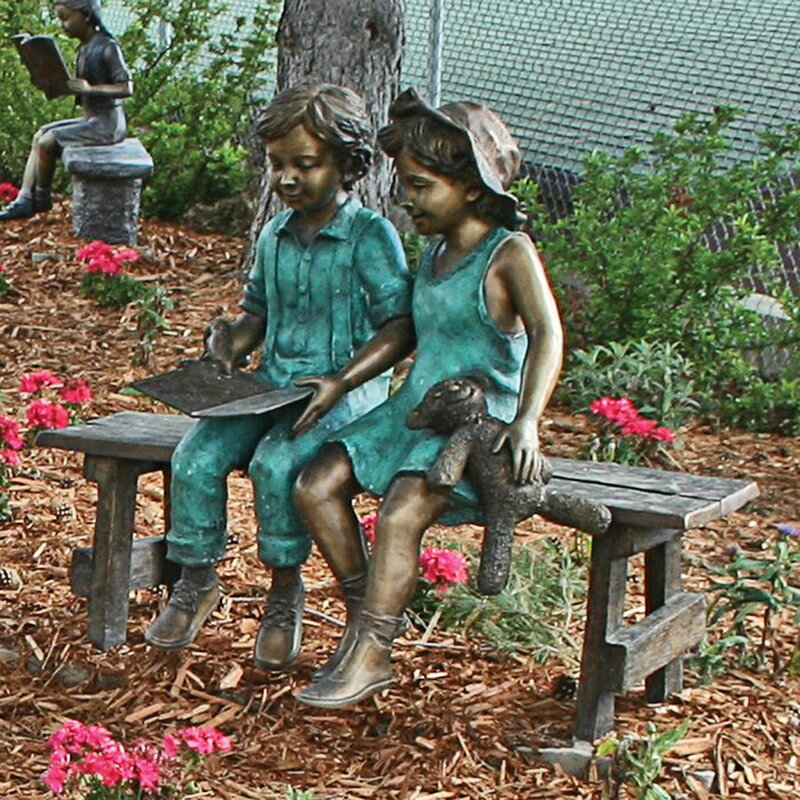 Great Read To Me Boy And Girl On Bench Cast Garden Statue