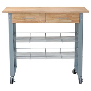 Mcdonald Kitchen Cart with Solid Wood Top..