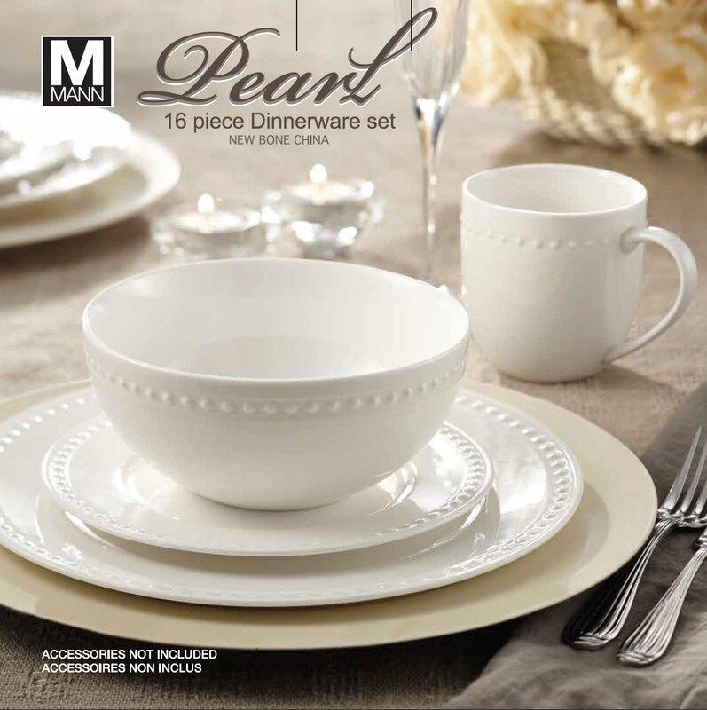 Rim Pearl 16 Piece Dinnerware Set Service for 4 & Bone China Dinnerware Sets Youu0027ll Love | Wayfair
