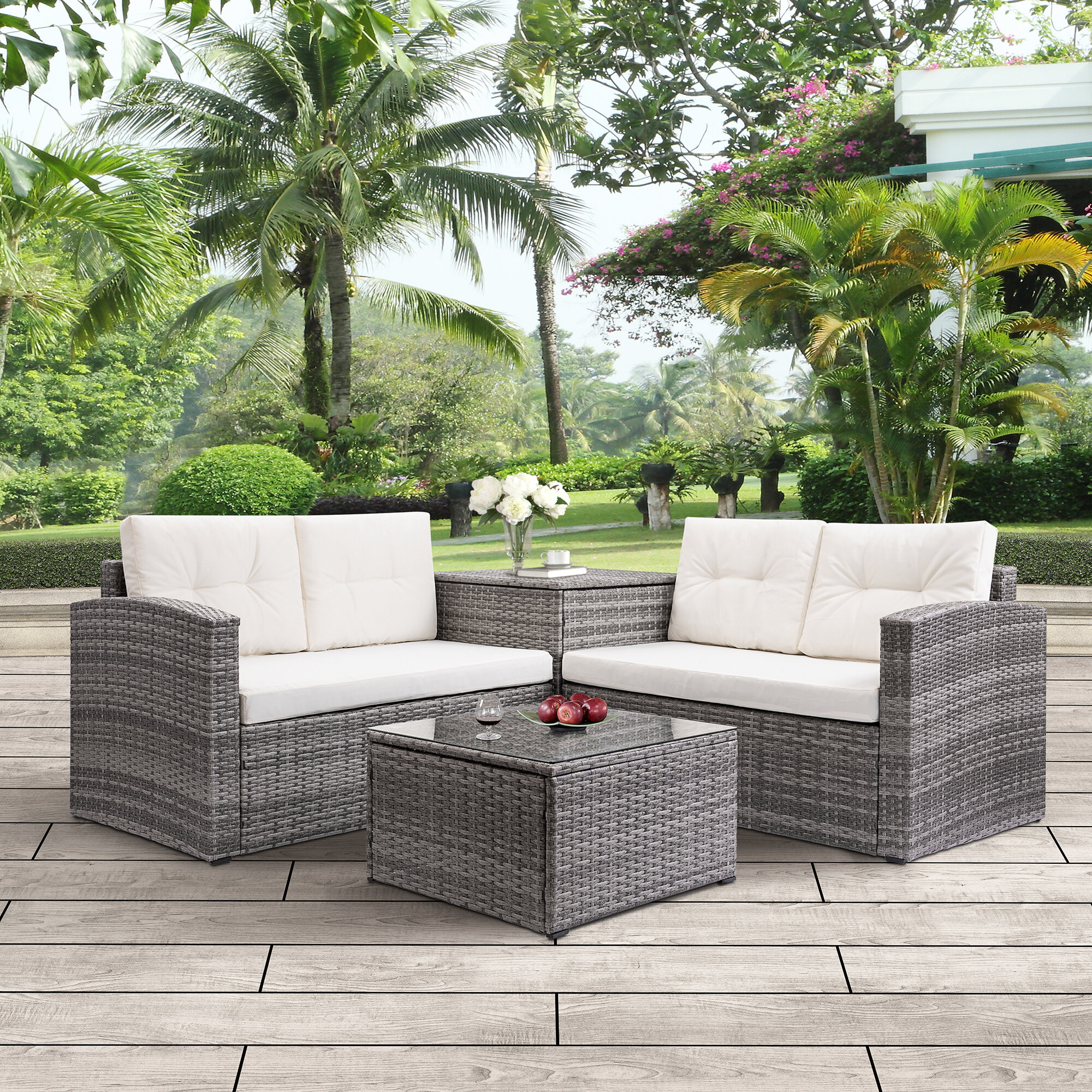 Wrought Studio Breed 4 Piece Rattan Sofa Seating Group With Cushions Reviews Wayfair