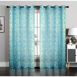Damask Semi-Sheer Grommet Curtain Panels (Set of 2)