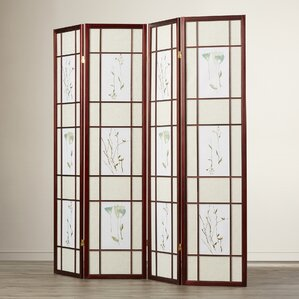 Reda 70 X 68 Gia 4 Panel Room Divider With Chinese Flower Design