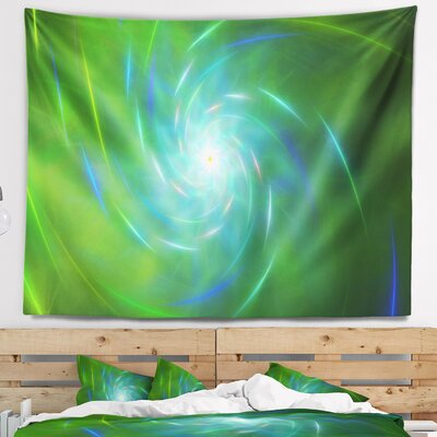 Abstract Green Fractal Whirlpool Design Tapestry East Urban Home