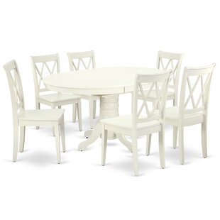Labarge 7 Piece Extendable Solid Wood Dining Set